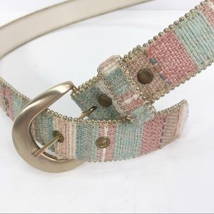 Vintage 80's belt pastel gold bead trim and buckle
